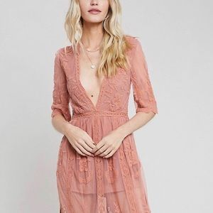 Dusty pink lace maxi dress with sewn in romper